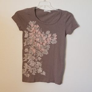 🤗 J. Crew Brown/Pink Flower Short Sleeve Size: S